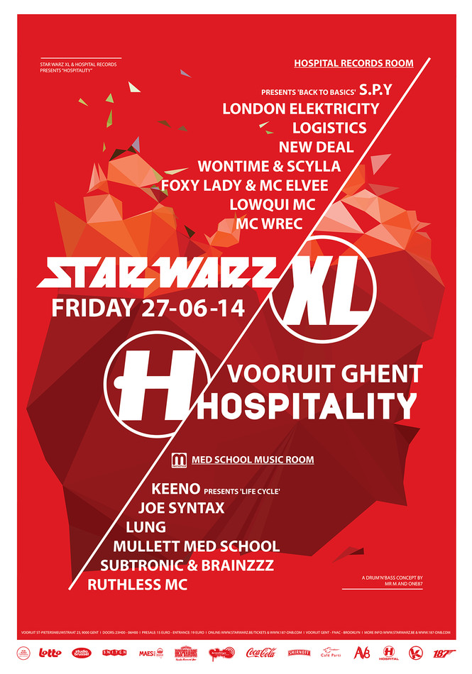 Star Warz XL & Hospital Records present Hospitality - Fri 27-06-14, Kunstencentrum Vooruit