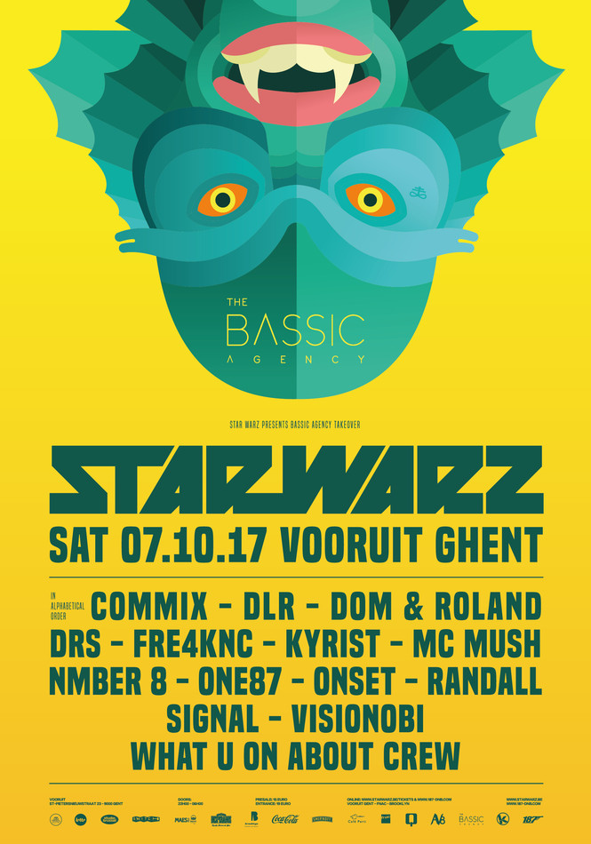Star Warz presents Bassic Agency Takeover - Sat 07-10-17, Kunstencentrum Vooruit