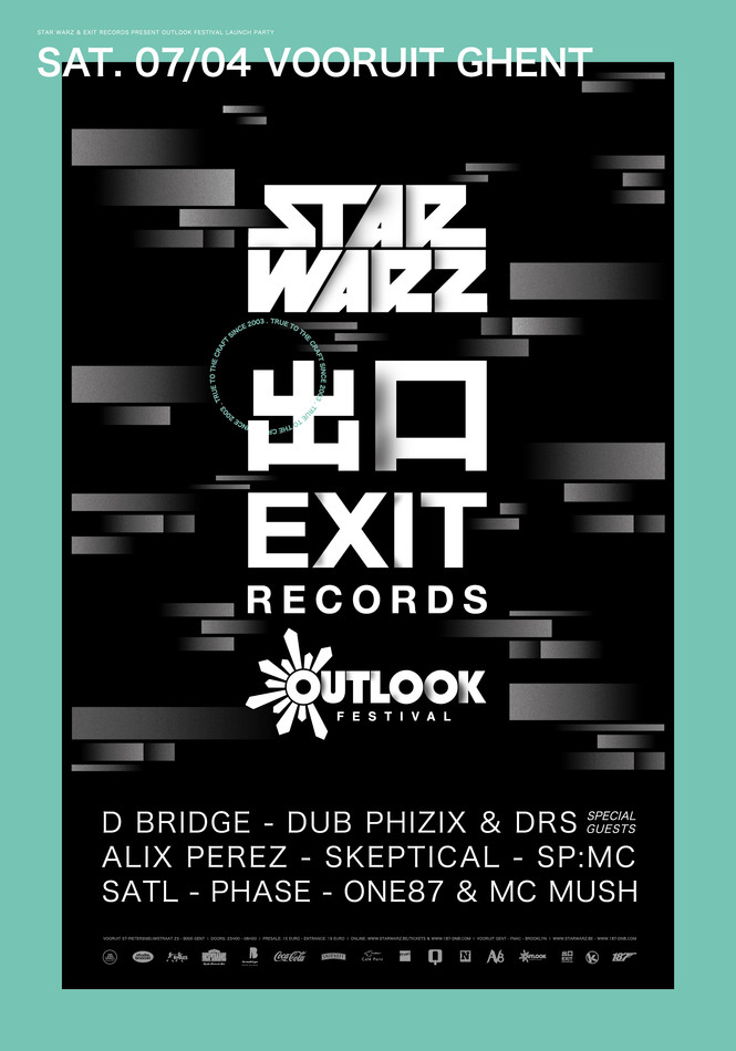 Star Warz & Exit Records present Outlook Festival Launch Party - Sat 07-04-18, Kunstencentrum Vooruit