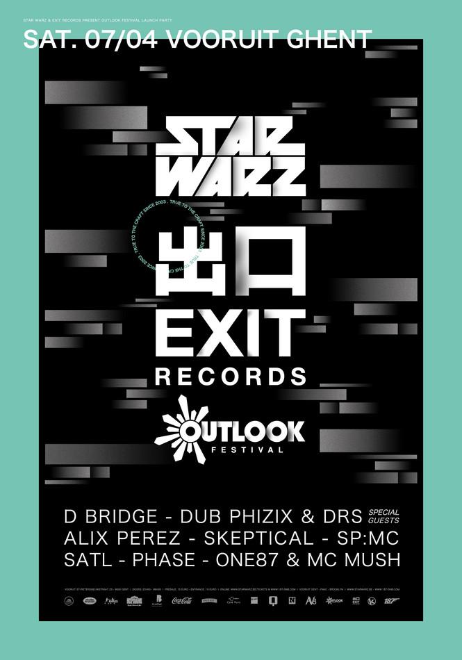 Star Warz & Exit Records present Outlook Festival Launch Party - Sat 07-04-18, Kunstencentrum Vooruit