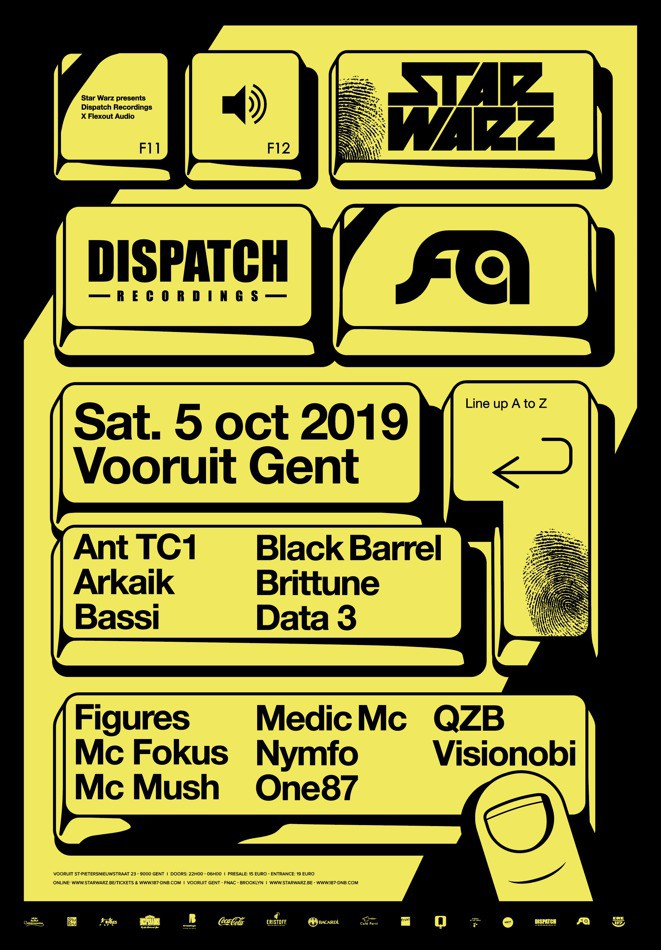 Star Warz presents Dispatch Recordings x Flexout Audio - Sat 05-10-19, Kunstencentrum Vooruit